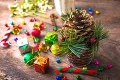 Bandera de madera del fondo de la Navidad y del Año Nuevo Fotografía de archivo libre de regalías