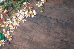 Bandera de madera del fondo de la Navidad y del Año Nuevo con con la caja de regalo, bolas del caramelo de la flor de la margarit Foto de archivo libre de regalías