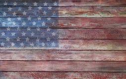 Bandera de madera del vintage americano Fotografía de archivo libre de regalías