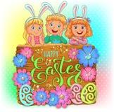 Bandera de madera feliz de Pascua con las flores de papel y los niños lindos Ilustración del vector stock de ilustración
