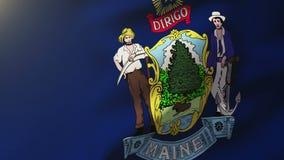 Bandera de Maine que agita en el viento Subidas de colocación del sol stock de ilustración