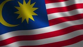 Bandera de Malasia que agita 3d abstraiga el fondo Animación del lazo