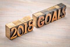 bandera de 2018 metas en el tipo de madera Fotografía de archivo libre de regalías