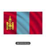 Bandera de Mongolia que agita en un fondo blanco Ilustración del vector libre illustration