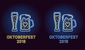 Bandera de neón del día de fiesta de Oktoberfest en azul Fotografía de archivo