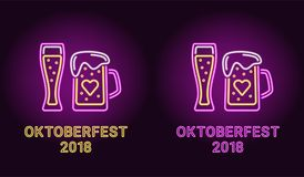 Bandera de neón del día de fiesta de Oktoberfest en púrpura Imágenes de archivo libres de regalías