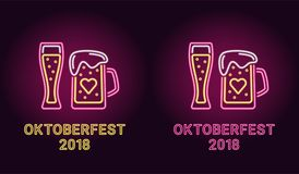 Bandera de neón del día de fiesta de Oktoberfest en rosa ilustración del vector