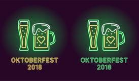 Bandera de neón del día de fiesta de Oktoberfest en verde Fotografía de archivo libre de regalías