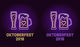 Bandera de neón del día de fiesta de Oktoberfest en violeta Imagen de archivo