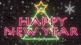 Bandera de neón de la enhorabuena de la señal de neón del árbol de la Feliz Año Nuevo con la estrella y el centelleo descendente  stock de ilustración