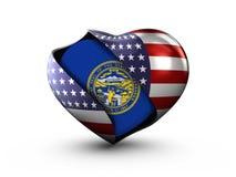 Bandera de Nebraska del estado de los E.E.U.U. en el fondo blanco ilustración del vector
