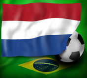 Bandera de Netherland y bandera del fondo del Brasil ilustración del vector