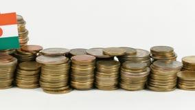 Bandera de Nigeria con la pila de monedas del dinero metrajes