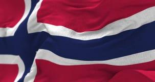 Bandera de Noruega en el viento ilustración del vector