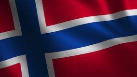 Bandera de Noruega que agita 3d abstraiga el fondo Animación del lazo