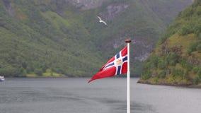 Bandera de Noruega que agita en el fiordo de la naturaleza de Noruega almacen de metraje de vídeo