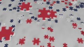 Bandera de Noruega que es hecha con los pedazos del rompecabezas Animación conceptual 3D de la solución noruega del problema metrajes