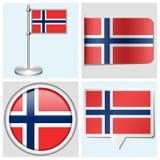 Bandera de Noruega - sistema de etiqueta engomada, de botón, de etiqueta y de la Florida Imágenes de archivo libres de regalías