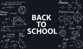 Bandera de nuevo a escuela con las figuras geométricas en una pizarra stock de ilustración