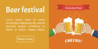 Bandera de Oktoberfest Vector la imagen para el web, cartel, invitación a ir de fiesta - hora de beber Imágenes de archivo libres de regalías
