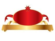 Bandera de oro con la divisa Fotografía de archivo libre de regalías