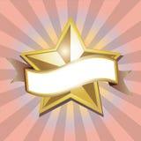 Bandera de oro de la estrella Fotos de archivo libres de regalías