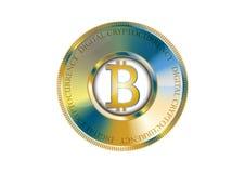 Bandera de oro del bitcoin Digitaces Cryptocurrency Vector Imagen de archivo