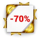 Bandera de oro del descuento 3d Fondo de la casilla blanca atado con la costilla Imagenes de archivo