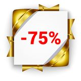 Bandera de oro del descuento 3d Fondo de la casilla blanca atado con la costilla Imagen de archivo