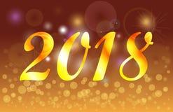 Bandera de oro del fondo de la celebración de la Feliz Año Nuevo 2018 Imagen de archivo