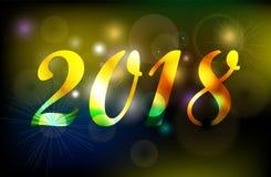 Bandera de oro del fondo de la celebración de la Feliz Año Nuevo 2018 Foto de archivo libre de regalías