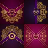 Bandera de oro elegante del marco Imagenes de archivo
