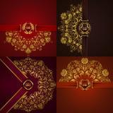 Bandera de oro elegante del marco Foto de archivo libre de regalías