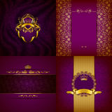 Bandera de oro elegante del marco Fotografía de archivo