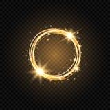Bandera de oro ligera del círculo Fondo ligero abstracto Marco del círculo del oro que brilla intensamente con las chispas y las  libre illustration