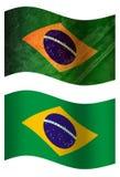 Bandera de país del Brasil 3D, dos estilos stock de ilustración