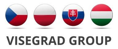 Bandera de país del grupo de V4 Visegrado stock de ilustración
