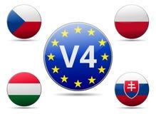 Bandera de país del grupo de V4 Visegrado ilustración del vector