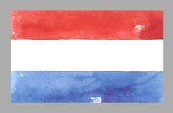 Bandera de Países Bajos de la acuarela Ilustración del vector Imagen de archivo libre de regalías