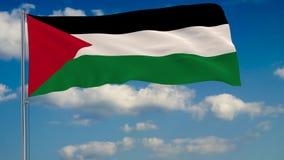 Bandera de Palestina contra el fondo de las nubes que flotan en el cielo azul stock de ilustración
