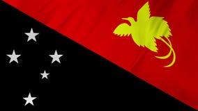 Bandera de Papúa Nueva Guinea que agita en la animación 2 del viento en 1 almacen de metraje de vídeo
