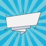 Bandera de papel cómica para el texto Burbuja vacía retra del discurso, etiqueta de la historieta Ejemplo en estilo del arte pop  stock de ilustración