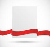 Bandera de papel con la cinta roja stock de ilustración