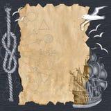 Bandera de papel con los símbolos del mar verticales Fotos de archivo libres de regalías