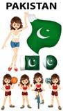 Bandera de Paquistán y muchos deportes Imagen de archivo