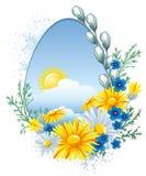 Bandera de Pascua con las flores del resorte ilustración del vector