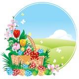 Bandera de Pascua con las flores del resorte y los huevos pintados