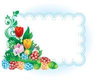 Bandera de Pascua con las flores y los huevos del resorte stock de ilustración