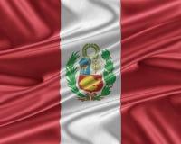Bandera de Perú con una textura de seda brillante Imagen de archivo libre de regalías