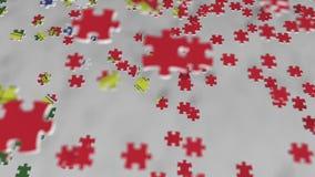 Bandera de Portugal que es hecho con los pedazos del rompecabezas Animación conceptual 3D de la solución portuguesa del problema almacen de video